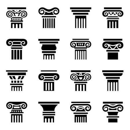 Illustration pour Vector Column icon set on white background - image libre de droit