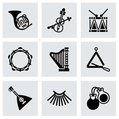 Vector Music instruments icon set on grey background