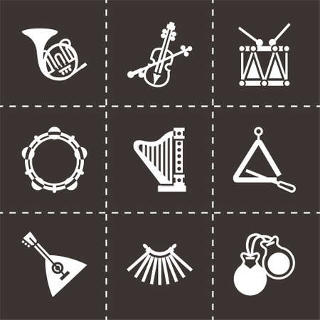 Vector Music instruments icon set on black background