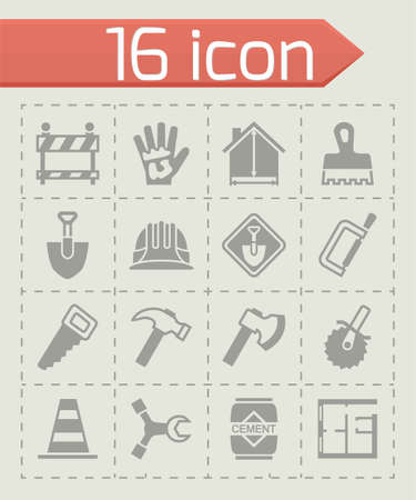 Vector Construction icon set on grey background