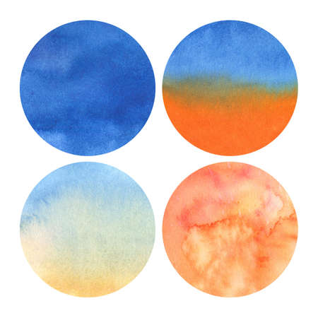 Photo pour set of 4 watercolor circles with shades from deep blue to light orange - image libre de droit