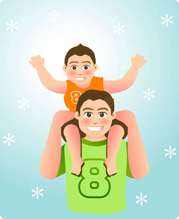 vector illustration for a relationship for father and son, piggybackのイラスト素材