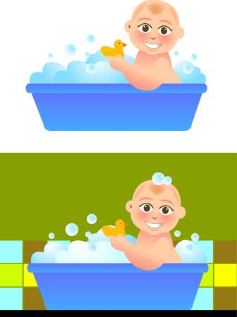 Illustration for vector illustration for a baby taking a bath in bathroom. - Royalty Free Image