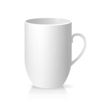 Illustration pour White empty cup in classic style on transparent background. White background. Vector illustration - image libre de droit