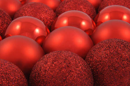 Different kind of red christmas balls