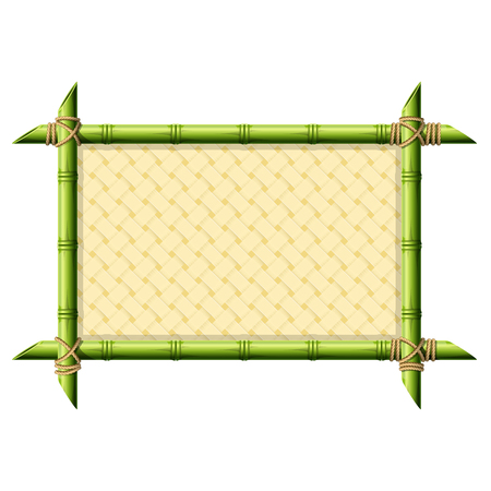 Bamboo frame with wicker pattern isolated on white