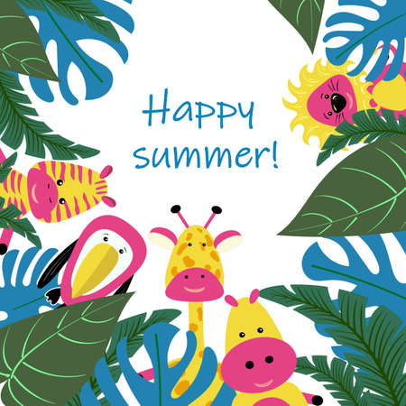 Illustration pour Banner or card for summer party of tropical leaves vector image - image libre de droit
