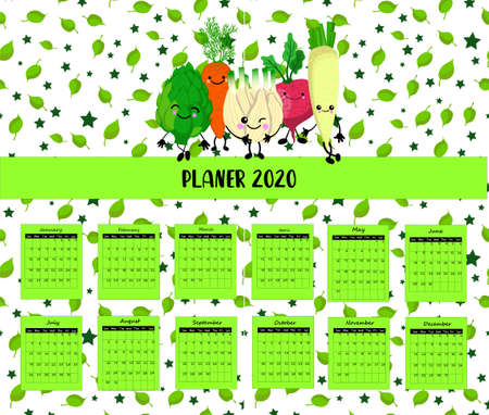 Illustration pour Calendar 2020. Fresh vegetables. Vegetarianism. weekly schedule for children. Vegetable characters are cute. Green leaves - image libre de droit