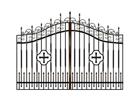 Photo pour Forged metal gates. Sketch. Victorian style. Artistic forging. Fencing.Doors for the temple, church, Christian cross. Entrance zone front entrance - image libre de droit