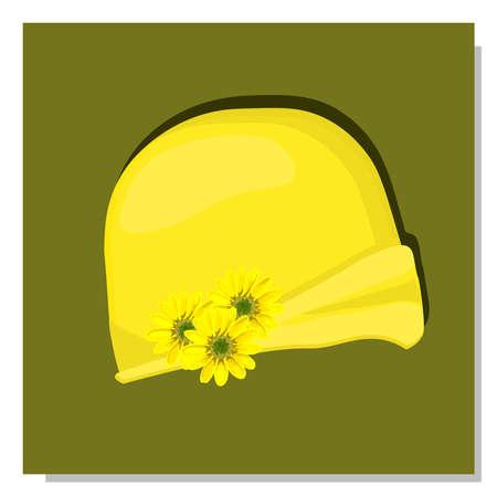 Illustration for Women's children's hat. Summer hat for girls. The era of art nouveau costume. - Royalty Free Image