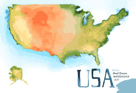 Watercolor hand drawn Illustration of USA map.