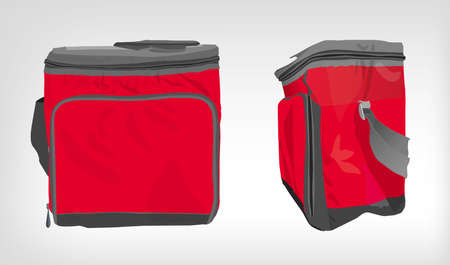 The illustration of  beautiful colorful cooler bag. Ideal template for branding mock ups and souvenirs. Vector image.