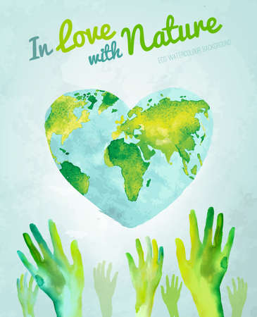 Vector watercolor hand drawn painted Illustration of environmentally friendly World map. Think green and save the Earth. Ecology and protection concept. Globe watercolour vector image.