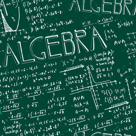Vector seamless formula green board pattern made from pen hand drawn writings. Useful for scientific, school and education design.