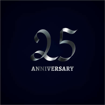Ilustración de Beautiful vector ribbon anniversary logotype on a dark background. Editable illustration in silver color useful for creating jubilee graphic design. - Imagen libre de derechos