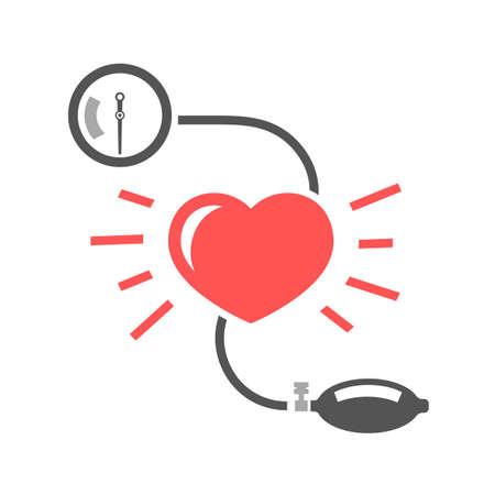 Ilustración de Beautiful vector illustration of blood pressure measuring. Abstract medicine symbol. Useful for sign development, indographics, postcard, leaflet, brochure, print, book and poster graphic design. - Imagen libre de derechos