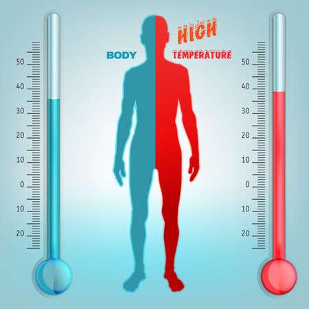 Ilustración de Vector illustration of bio infographics with human body temperature regulation scheme in transparent style. Abstract medicine and biochemistry concept. Keep your body healthy - Imagen libre de derechos