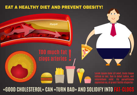 Eat a healthy diet and prevent obesity. Medical poster, leaflet or brochure layout. Editable illustration in bright colors on a dark gray background.
