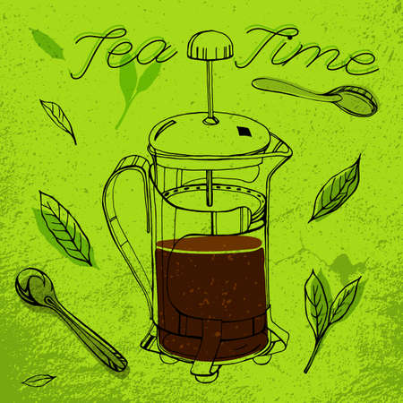 Hand drawn tea-pot image in artistic style.