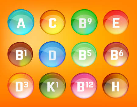 Illustration pour Vitamin complex. Different vitamins in pillls. Vector illustration in bright rainbow colours. Medical and pharmaceutical image. - image libre de droit