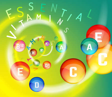 Illustration pour Essential vitamin complex. Creative background with different vitamins in glossy pills flying in a colourful swirl. Vector illustration in rainbow colours. Medical, dietary and pharmaceutical image. - image libre de droit