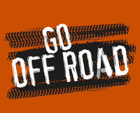 Illustration for Tire tracks lettering Go off road. - Royalty Free Image