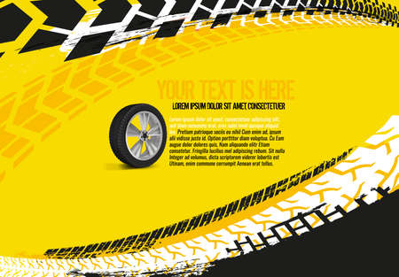 Illustration for Vector automotive banner template. Grunge tire tracks backgrounds for landscape poster, digital banner, flyer, booklet, brochure and web design. Editable graphic image in red and white colors - Royalty Free Image