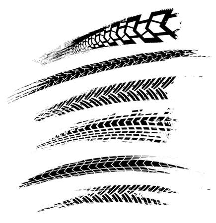 Ilustración de Motorcycle tire tracks vector illustration. Grunge automotive element Graphic image in black color on a white background. - Imagen libre de derechos