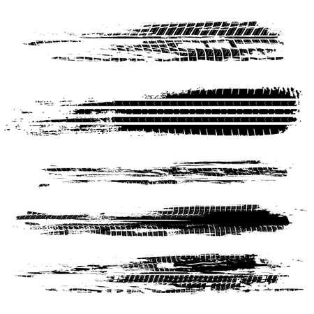 Illustration pour Automobile tire tracks vector illustration. Grunge automotive element useful for poster, print, flyer, book, booklet, brochure and leaflet design. Editable graphic image in black color. - image libre de droit