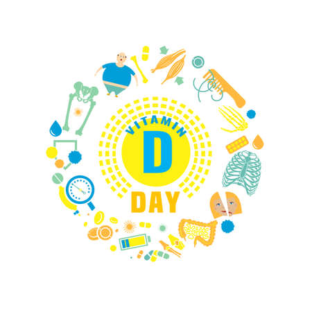 Illustration pour 2 November - Vitamin D day. Creative background with signs and symptoms of vitamin D deficiency. Vector illustration on a white background in a flat style. Medicine, healthcare and awareness concept. - image libre de droit