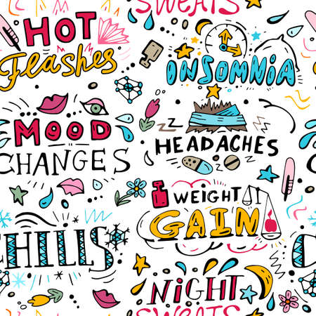 Menopause symptoms and physical changes seamless pattern with hand drawn lettering. Editable vector illustration in doodle style on white background. Female health, woman life collection.