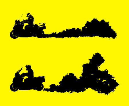 Illustration for Off-road motorcycle moving fast with a dust of cloud behind. Vector illustration in black color isolated on a yellow background. Automotive set of drawings. Endurance event or tough rallying concept. - Royalty Free Image