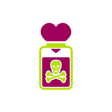 Illustration pour Toxic relationships sign. Editable vector illustration in green and red color. Communication, psychology and people behavior concept useful for heading, logotype, icon, symbol or poster design. - image libre de droit