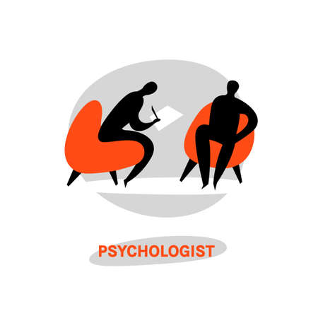 Illustration pour Psychologist, psychotherapist icon. Creative concept useful for logotype, pictogram, symbol design. Editable vector illustration in black, grey, orange colors. Phycology, Physiology, Psychiatry image - image libre de droit