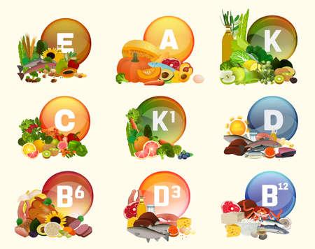 Illustration pour Vitamins collection with food - image libre de droit