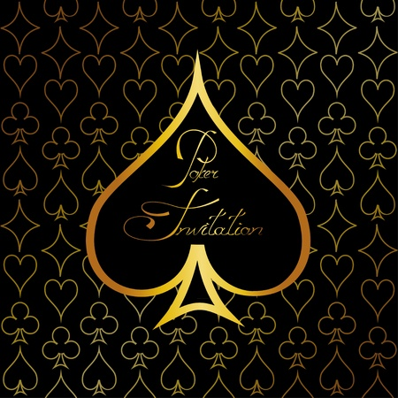 Gold casino background or invitation for poker with suits of playing cards