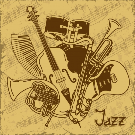 Background with musical instruments on a vintage background