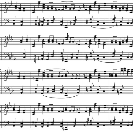 Seamless pattern of music stave notes on a white background