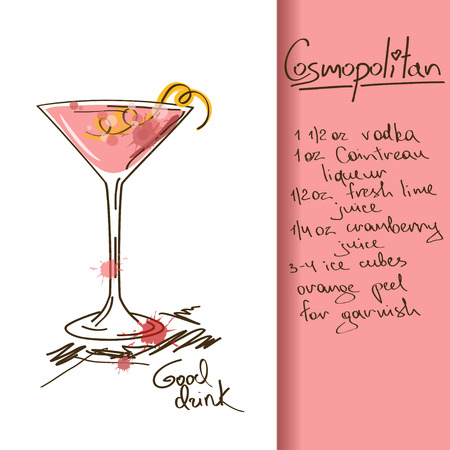 Illustration with hand drawn Cosmopolitan cocktail