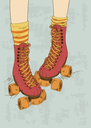 Illustration with girl's legs in striped socks and retro roller skates