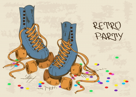Illustration with retro roller skates on a grunge background