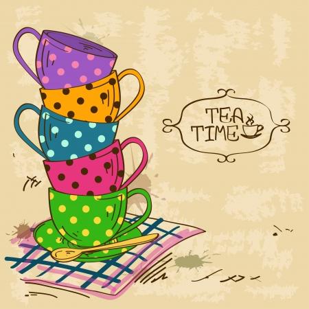 Vintage illustration with stack of colorful polka dot patterned tea cups