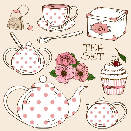 Set of isolated white pink polka dots tea service icons