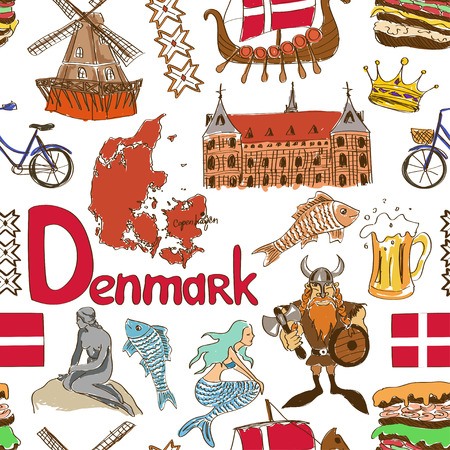 Fun colorful sketch Denmark seamless pattern