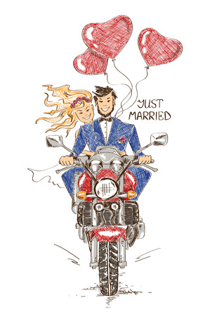 Foto de Colorful funny sketch illustration with just married couple riding on a motorbike and heart shape air balloons. Hand drawn wedding card or invitation - Imagen libre de derechos