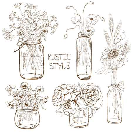 Illustration pour Sketch set of isolated mason jars and bottle with flowers. Wedding, birthday, shower party design decoration elements - image libre de droit