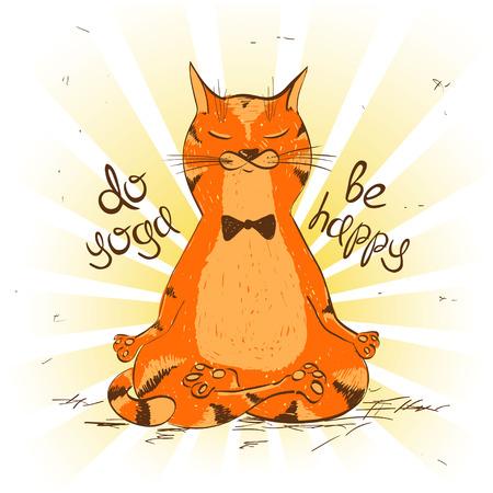 Ilustración de Funny illustration with cartoon red cat sitting on lotus position of yoga. - Imagen libre de derechos