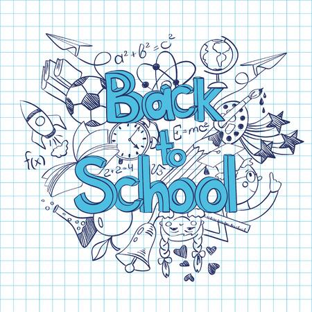 Foto de Hand drawn sketch Back to School background. Abstract funny school scribbles on a sheet of exercise book. - Imagen libre de derechos