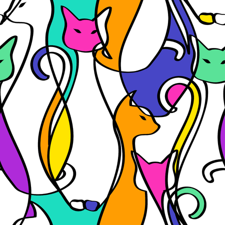 Illustration for Seamless pattern of tribal geometric colorful African cats. Abstract background. - Royalty Free Image