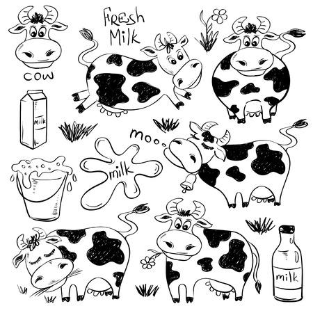 Ilustración de Set of isolated funny sketch cow and milk product icons. Cartoon cute cows. - Imagen libre de derechos